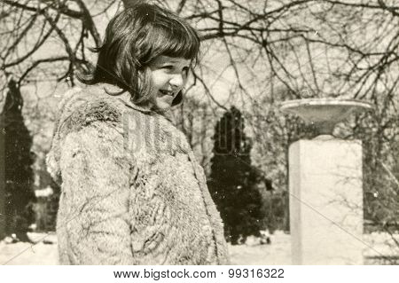 Vintage photo of little girl, early 1960's