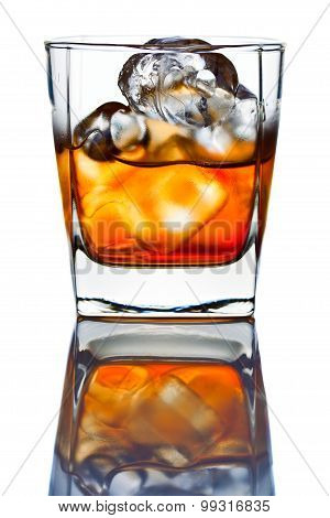 Whiskey Withl Ice Isolated On White