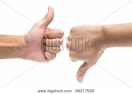 Thumb Up And Thumb Down Hand Signs Isolated On White 1
