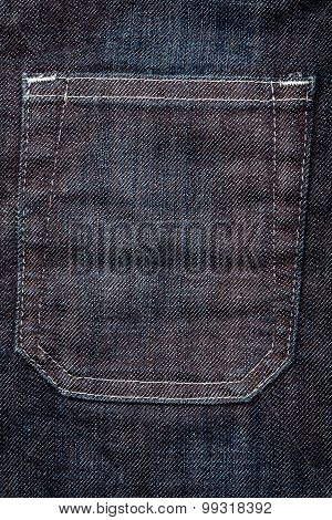 Dark Blue Jeans Fabric With Pocket