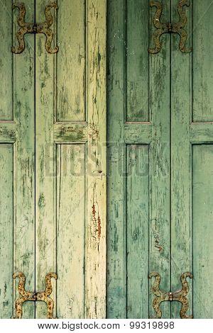 Detail Of Green Wooden Shutters.