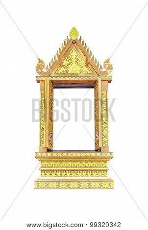 Wooden Thai Window On White