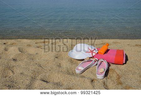 Beach Accessorize On Sandy Beach