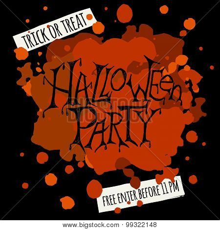 Happy Halloween Party Poster. Vector Illustration.