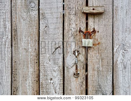 Wooden Bar Door With Padlock And Handle