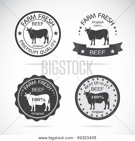 Set Of Vector Beef Labels On White Background