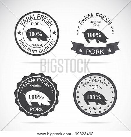 Set Of Vector Pork Labels On White Background