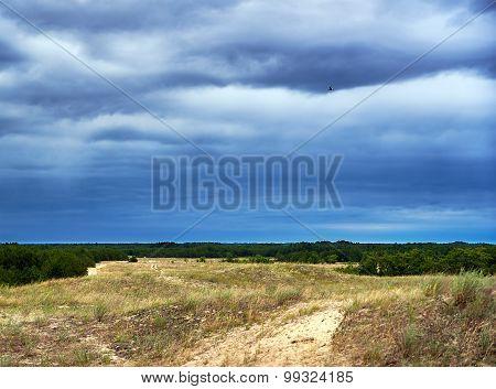 Prairie Landscape And Storm Sky Cloudscape