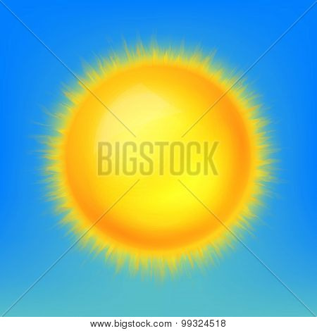 Weather Icon, Shiny Sun In The Blue Sky