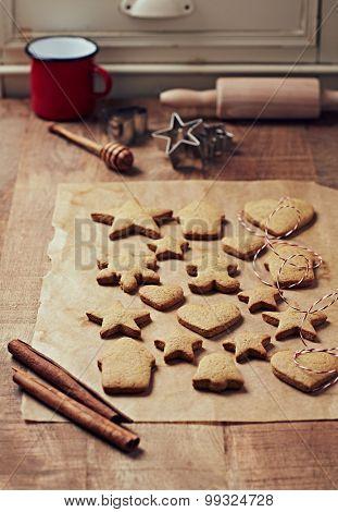 Freshly baked gingerbread cookies for Christmas