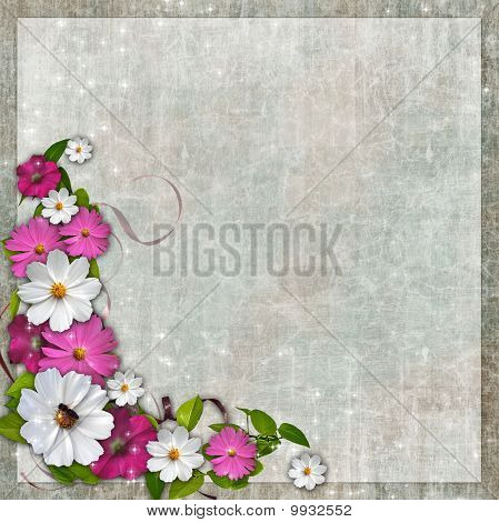 Composition floral Corner design element for Easter, Mothers day card, wedding invitation, backgroun