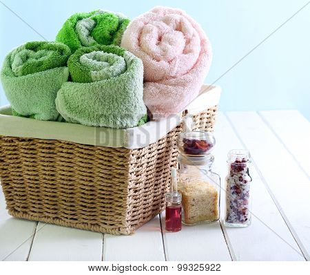 Spa Setting With Towels