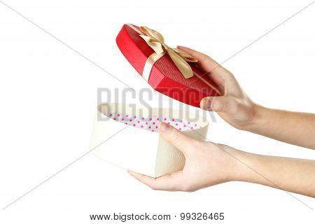 Female Hand Opening Gift Box On White Background