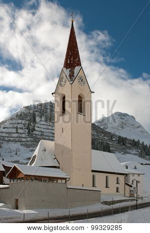 A Church, In The Picturesque Alpine Village Of Warth-Schrocken, In Austria
