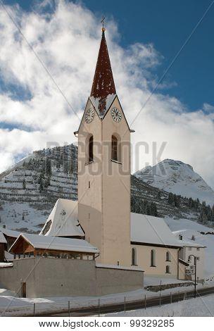 A Church, In The Picturesque Alpine Village Of Warth-Schrocken, In Austria