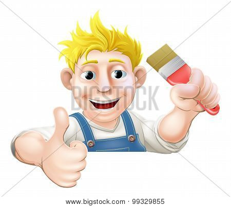 Paintbrush Man Over Sign Thumbs Up