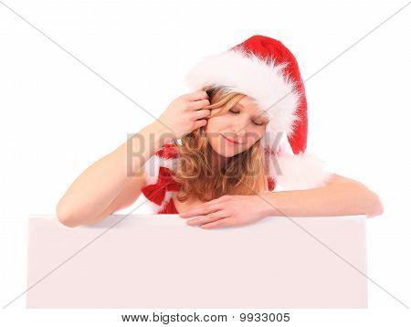 Miss Santa está segurando um anúncio