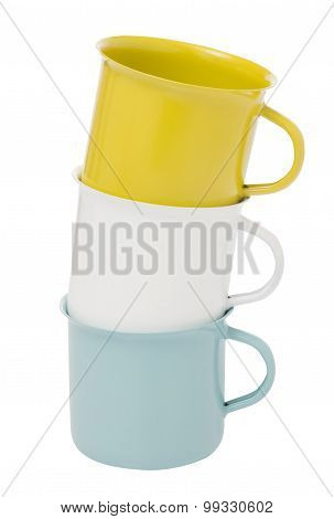 Three Stacked Mugs On White Background Isolate Include Path