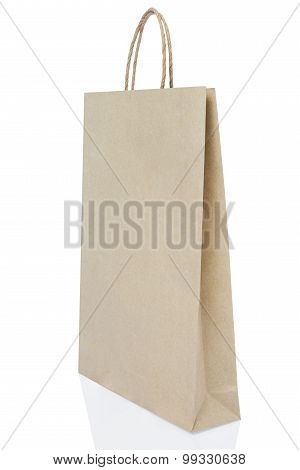 Brown Paper Bag On White Background Include Path