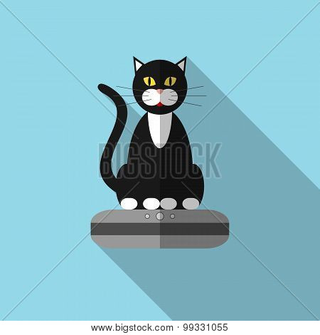 Icon Of A Cat On Vacuum Cleaner