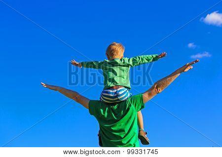happy family on sky