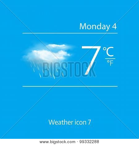 Realistic weather icon - cloud, light rain. Vector illustration