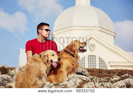 Man With His Dogs
