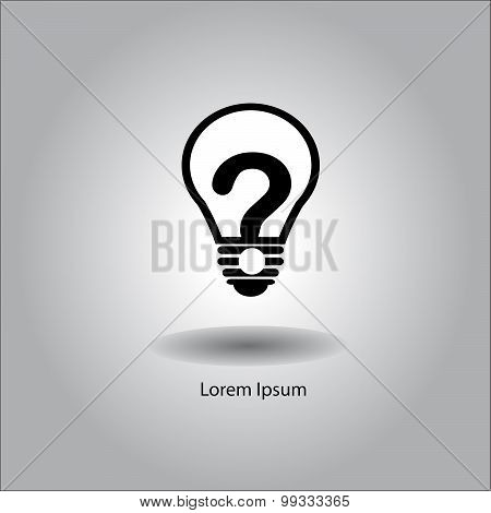 Illustration Vector Bulb With Question Mark Inside.