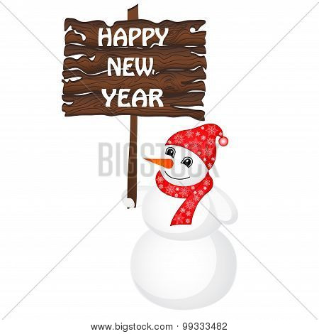 Snowman Wearing Santa Hat Isolated On The White Background. Vector