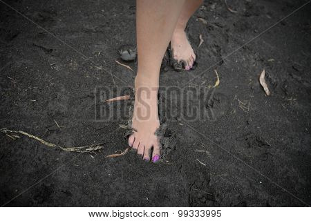 Human Foot In Wet Soil
