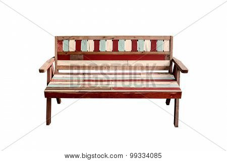 Vintage Wooden Bench Isolated On White