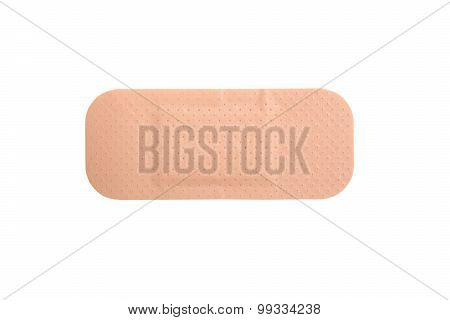 Close Up Of Brown Adhesive Plaster Isolated On White