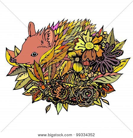 Abstract colored hedgehog, print.