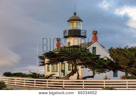 View of Point Pinos Lighthouse, Monterey, Pacific coast.