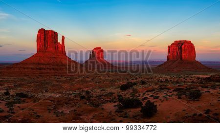 Monument Valley at sunset, desert canyon in USA
