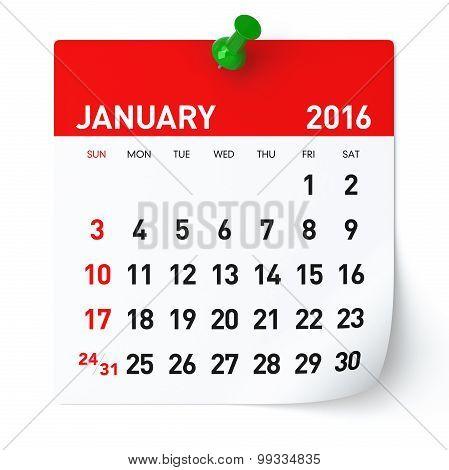 January 2016 - Calendar.