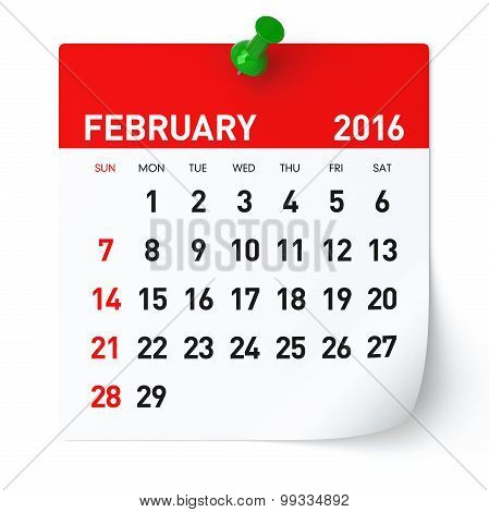 February 2016 - Calendar.