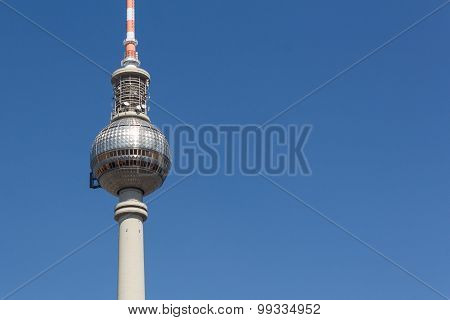 tv tower berlin isolated on clear blue sky