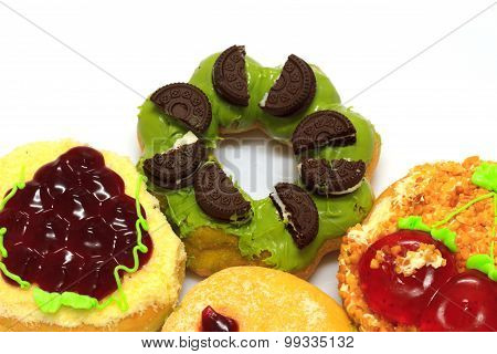 Colorful donut on white background