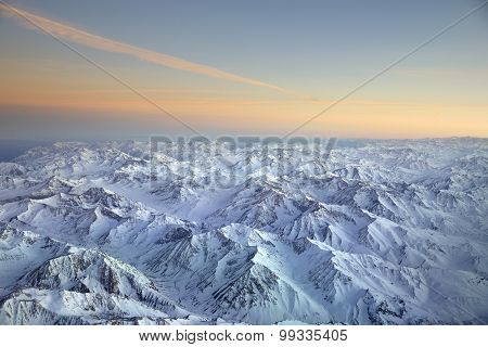 Landscape overflying the Andes mountain range