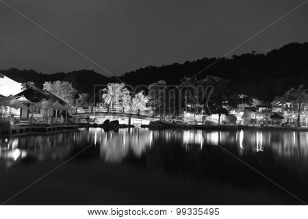 LANGKAWI - APRIL 29: Oriental Village on Langkawi island at night on April 29, 2014 in Langkawi, Malaysia. Oriental Village is best known as the home of the Langkawi Cable Car and Sky Bridge.