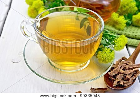 Tea of Rhodiola rosea in cup with spoon on light board