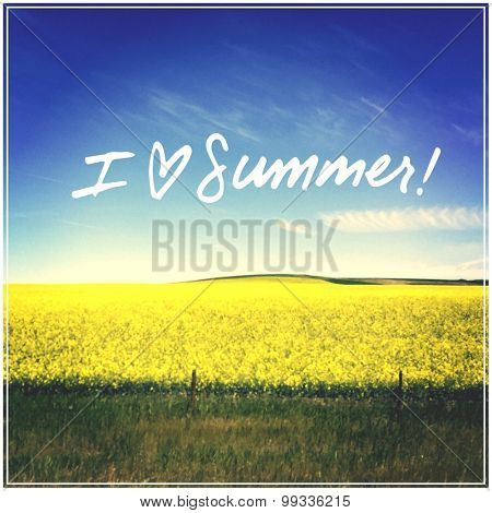 Inspirational Typographic Quote - I heart summer