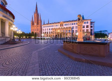 Wiesbaden Schlossplatz And Church