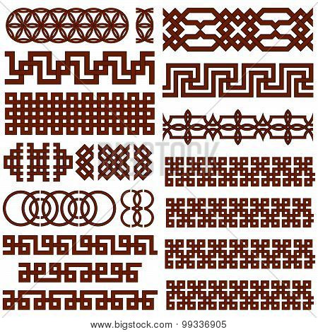Set of 17 Oriental Geometrical Seamless Borders