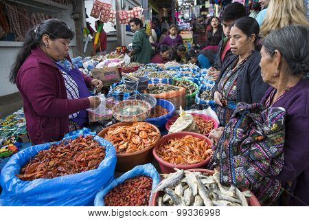 Maya indian people in local market