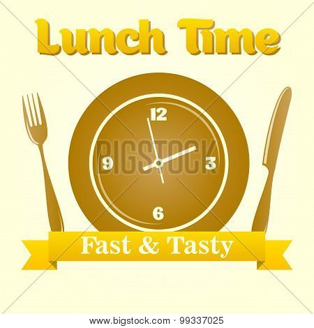 Illustration with clock and cutlery. lunch time concept