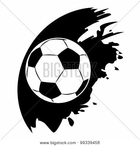 Vector Football Ball On Black Blob
