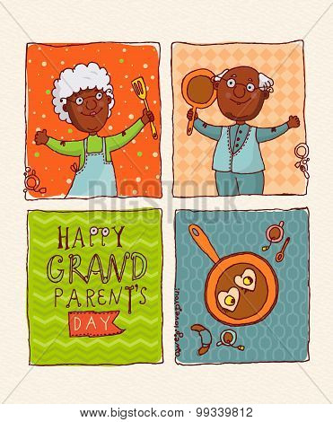 Happy grandparents day vector greeting card in doodle design.