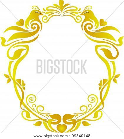 bird wedding gold oval frame floral